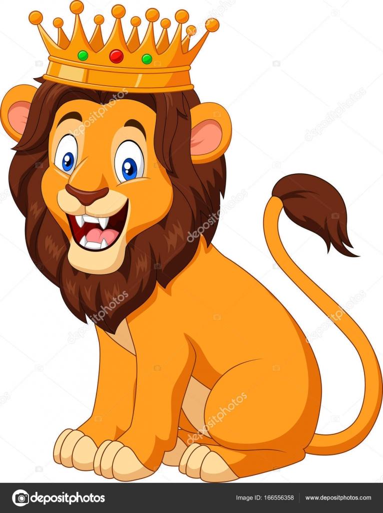 cartoon lion wearing a crown u2014 stock vector tigatelu 166556358