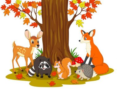 Vector illustration of Cartoon wild creatures in the forest stock vector