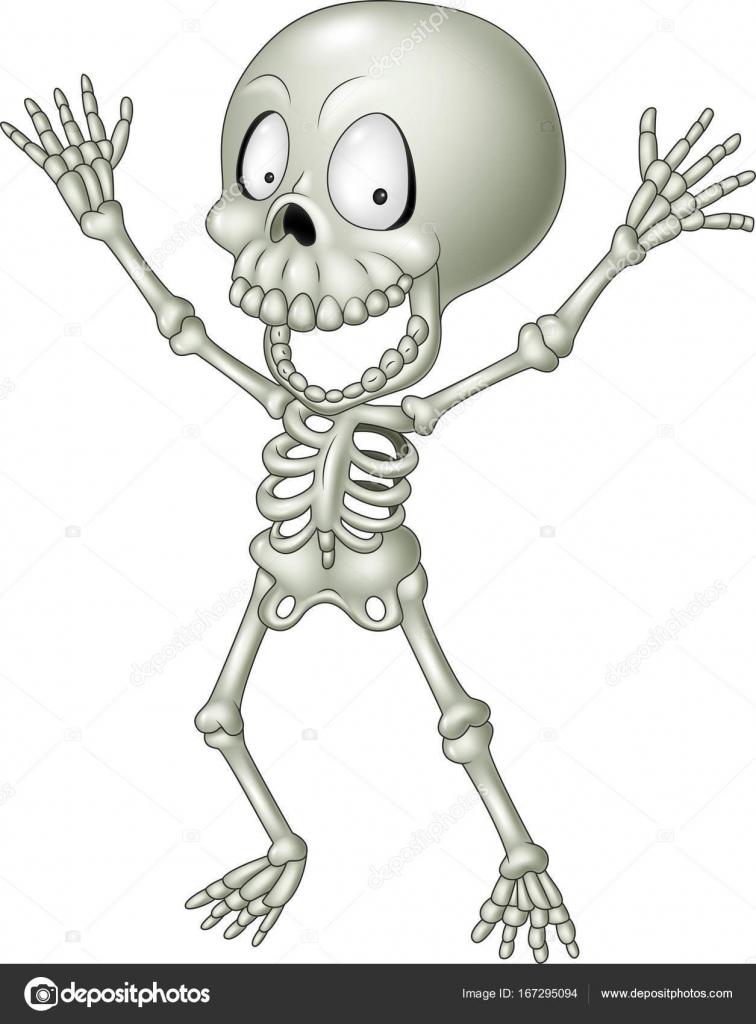 Esqueleto humano divertido dibujos animados — Archivo Imágenes ...