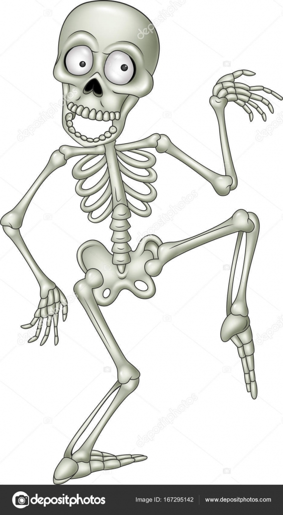 Esqueleto humano divertido dibujos animados bailando — Vector de ...