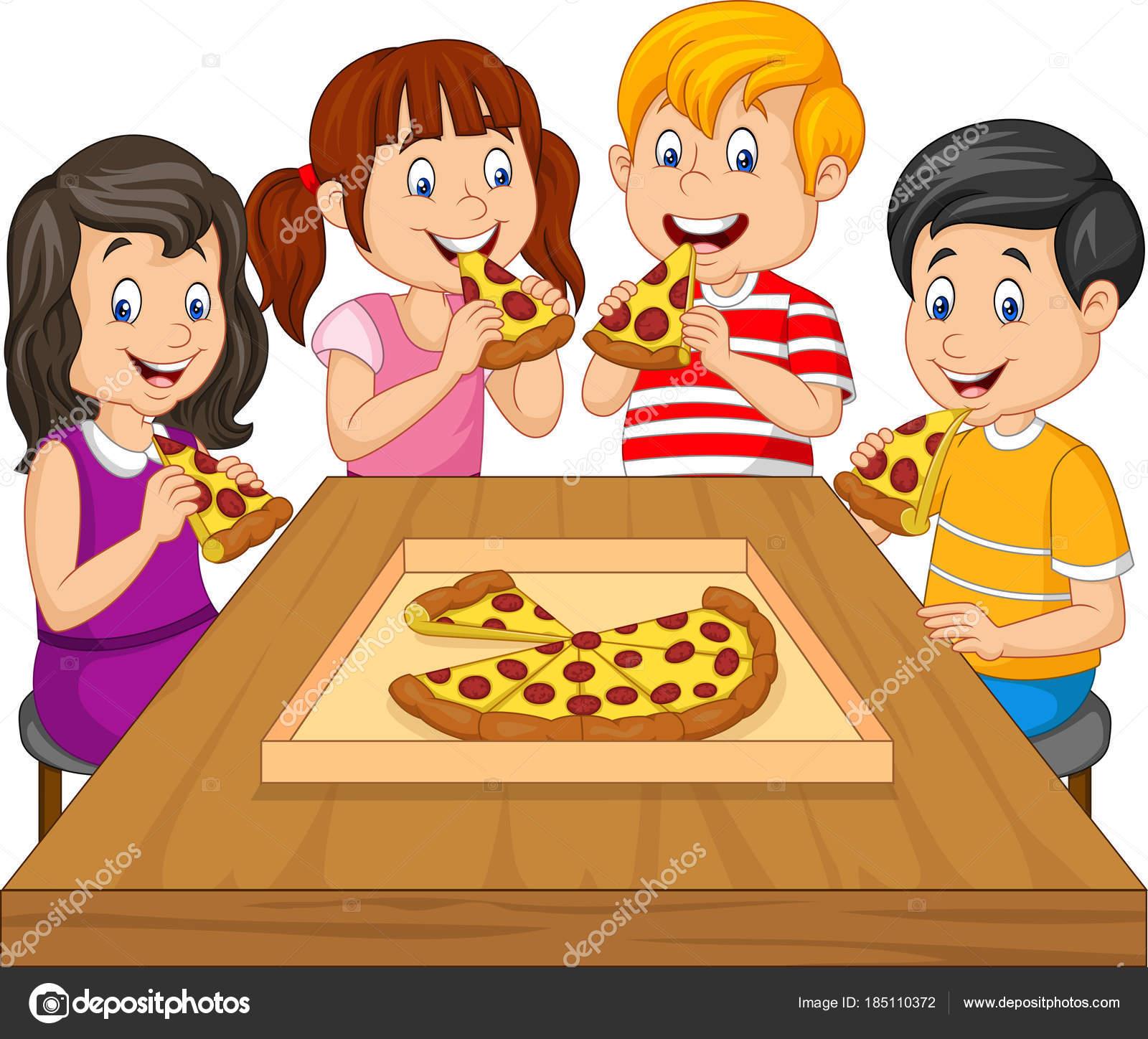 Niños Dibujos Animados Comiendo Pizza Juntos Archivo