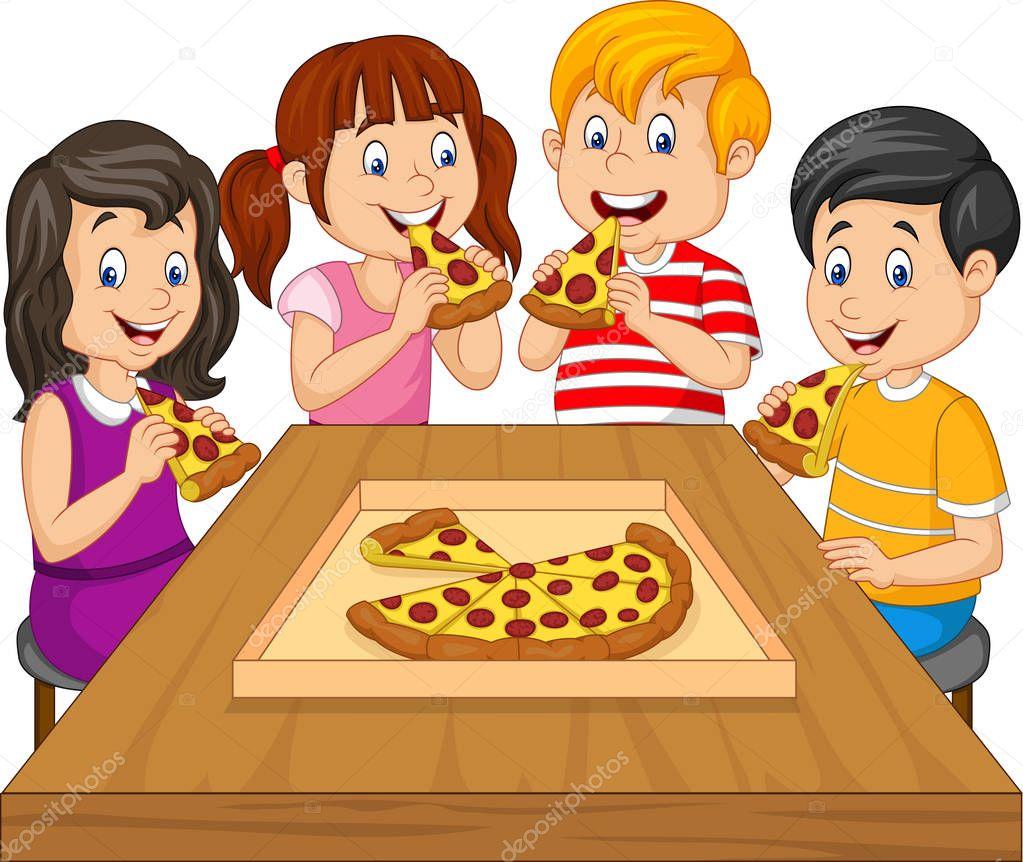 Imágenes: comiendo   Niños Dibujos Animados Comiendo Pizza ...
