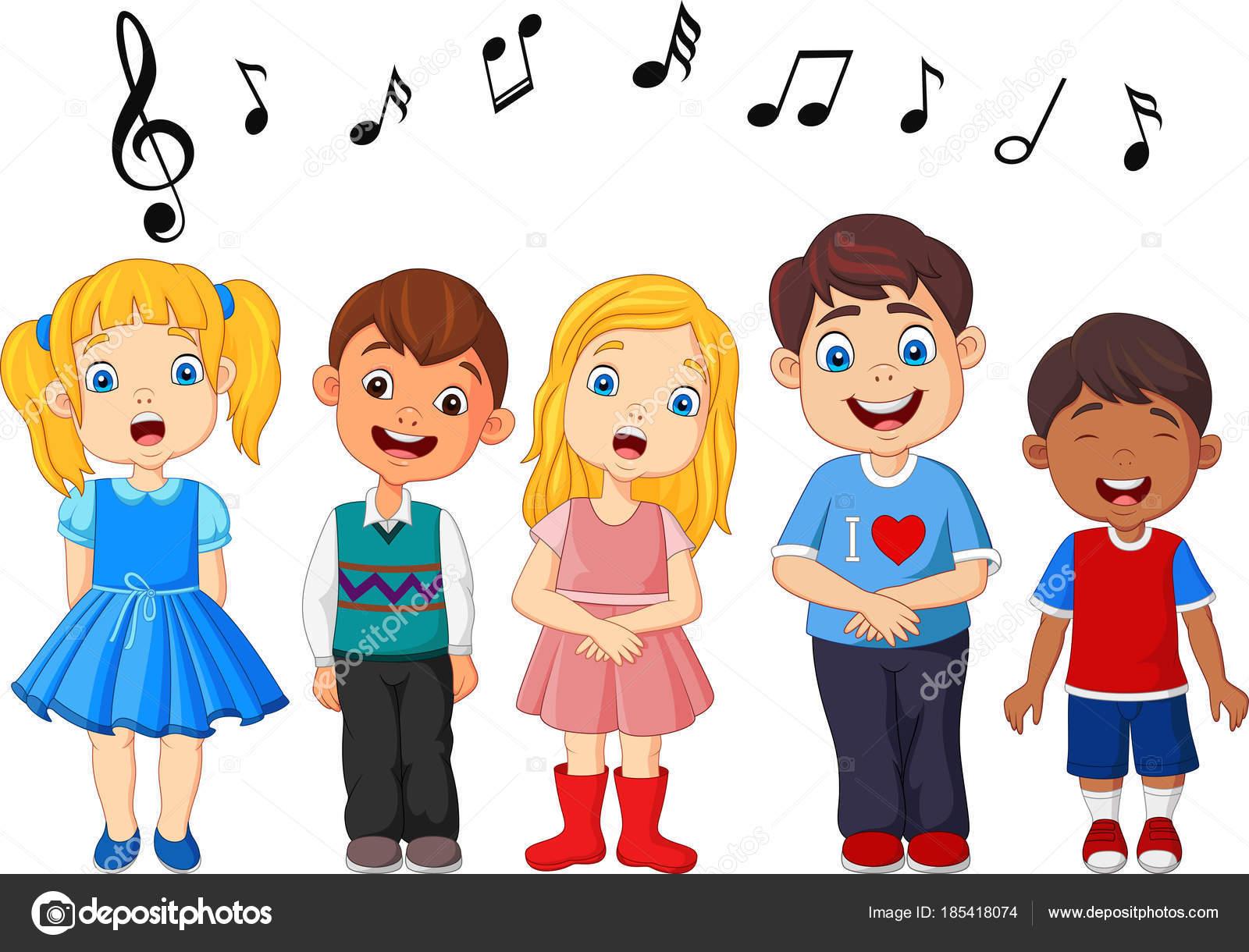 Grupo Dibujos Animados Niños Cantando Coro Escuela