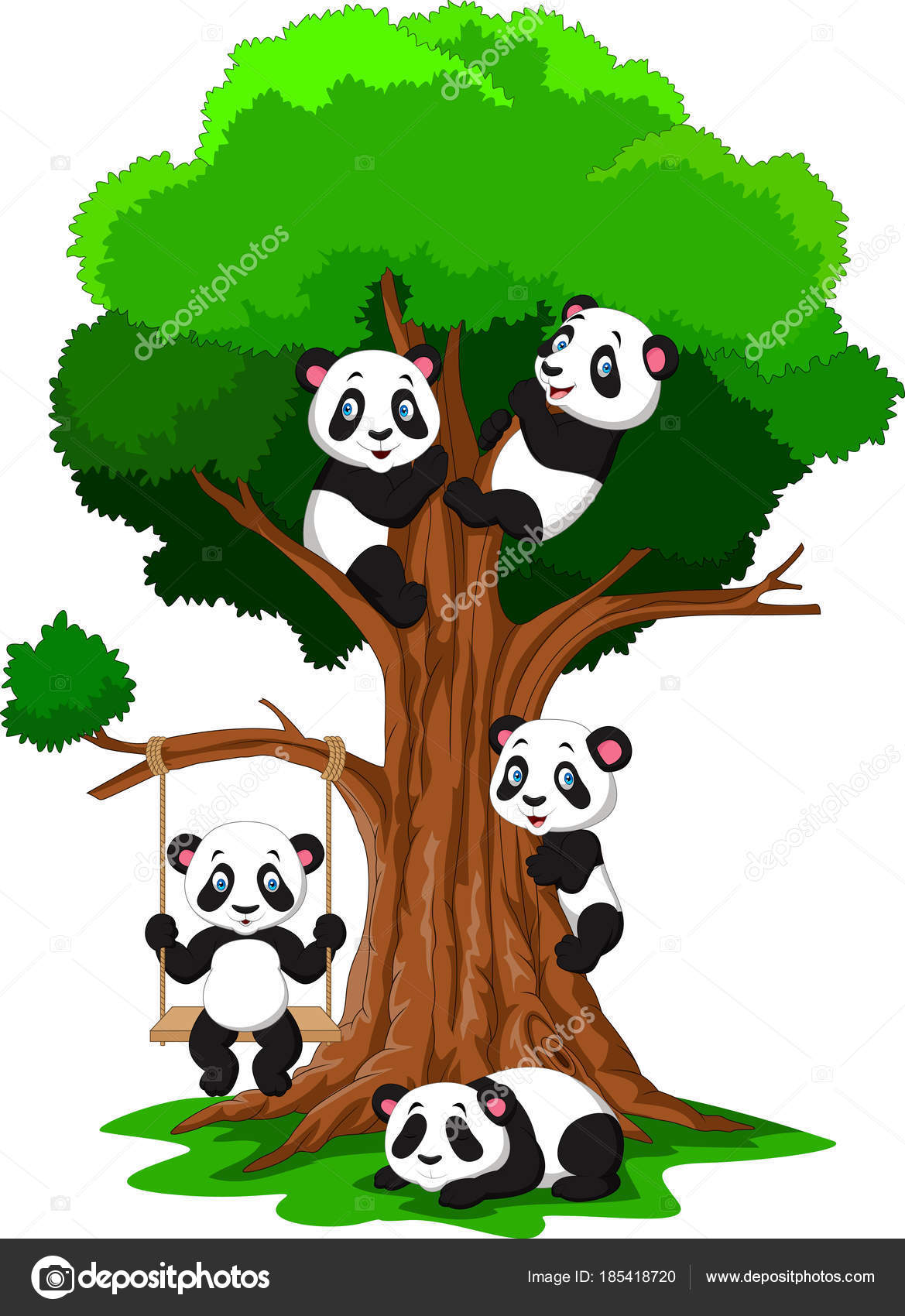 Baby Panda On Tree Cartoon Baby Panda Playing Tree Stock Vector C Tigatelu 185418720