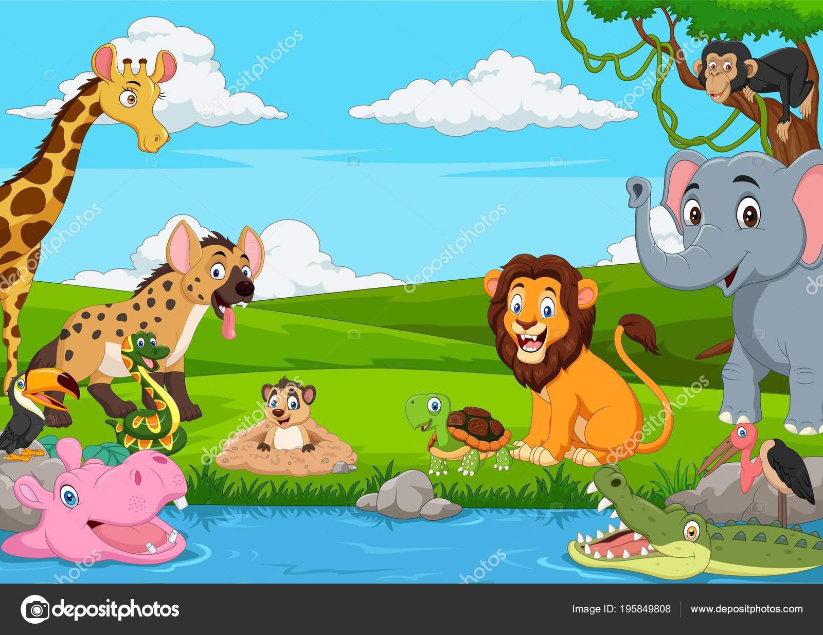 Paisajes De Animales: Paisaje Con Animales Salvajes Paisaje Africano Dibujos