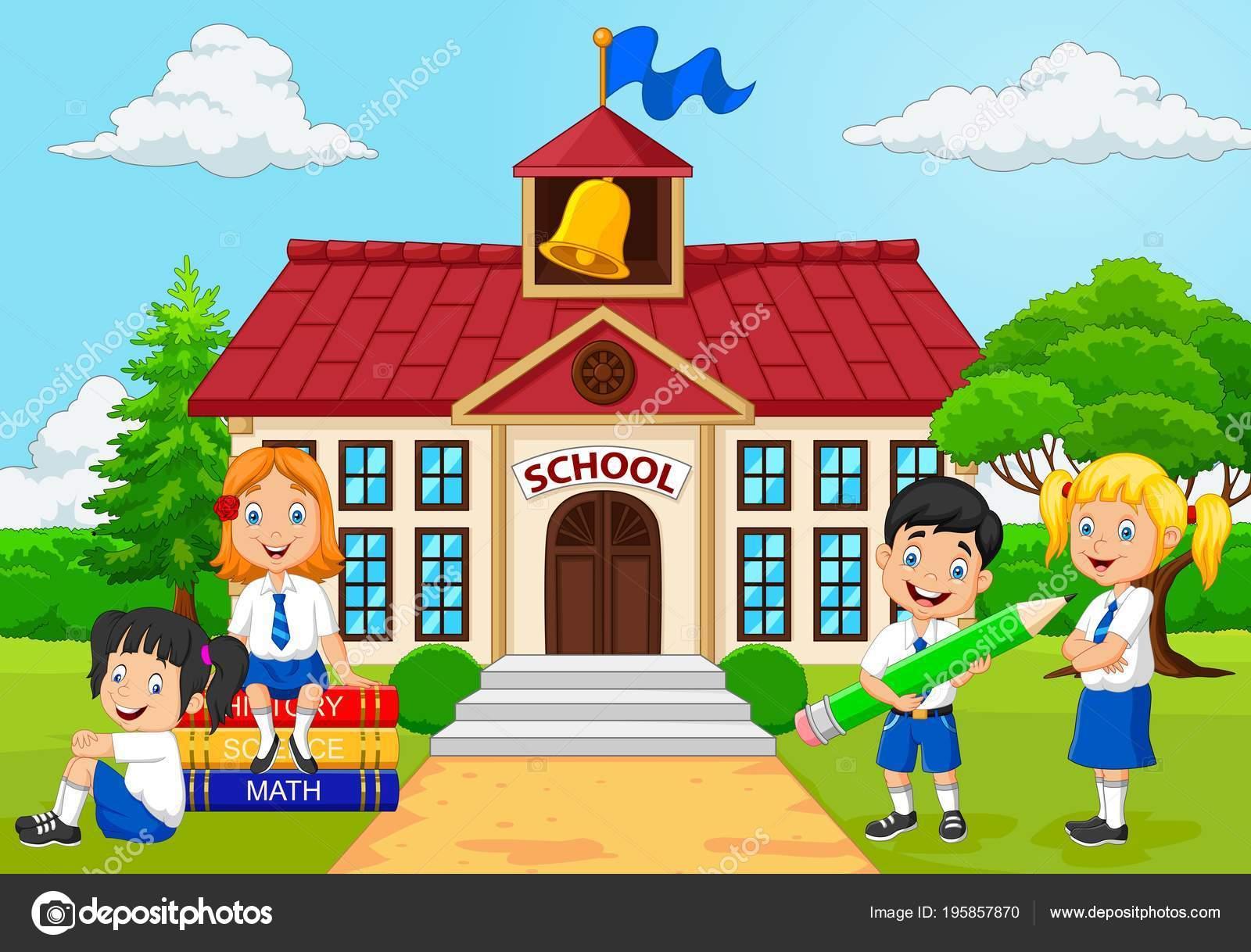 Grupo Dibujos Animados Niños Escuela