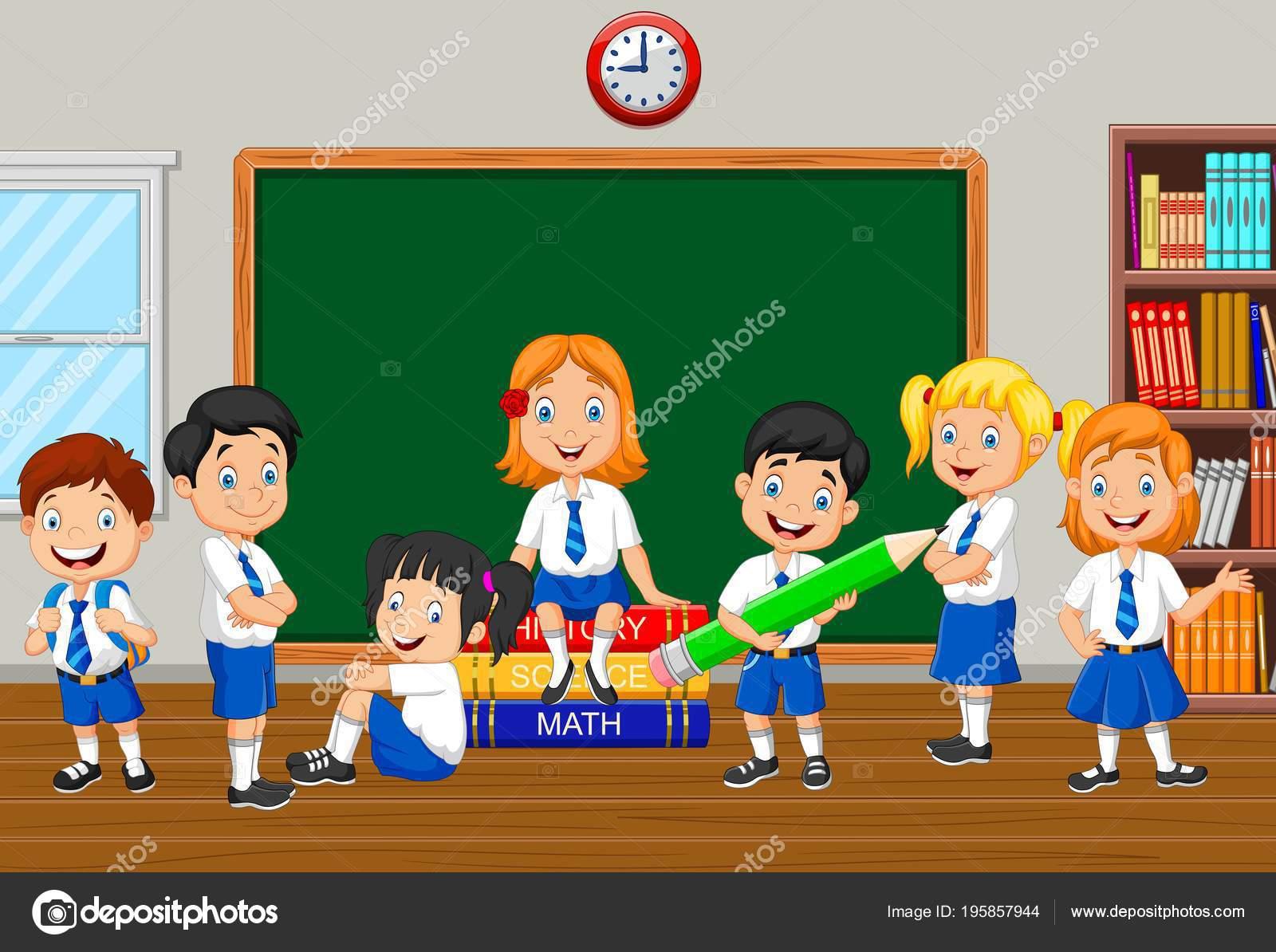Gruppo Bambini Scuola Elementare Classe Vettoriali Stock