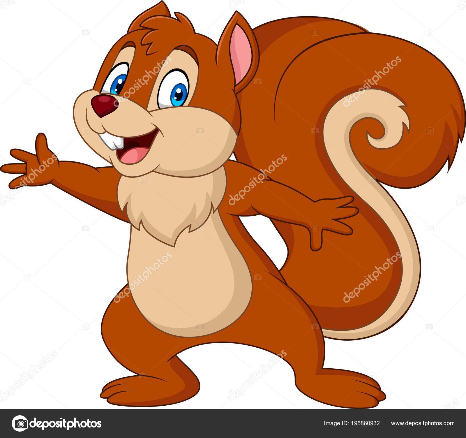 Cartone animato scoiattolo sveglio isolato priorità bassa bianca