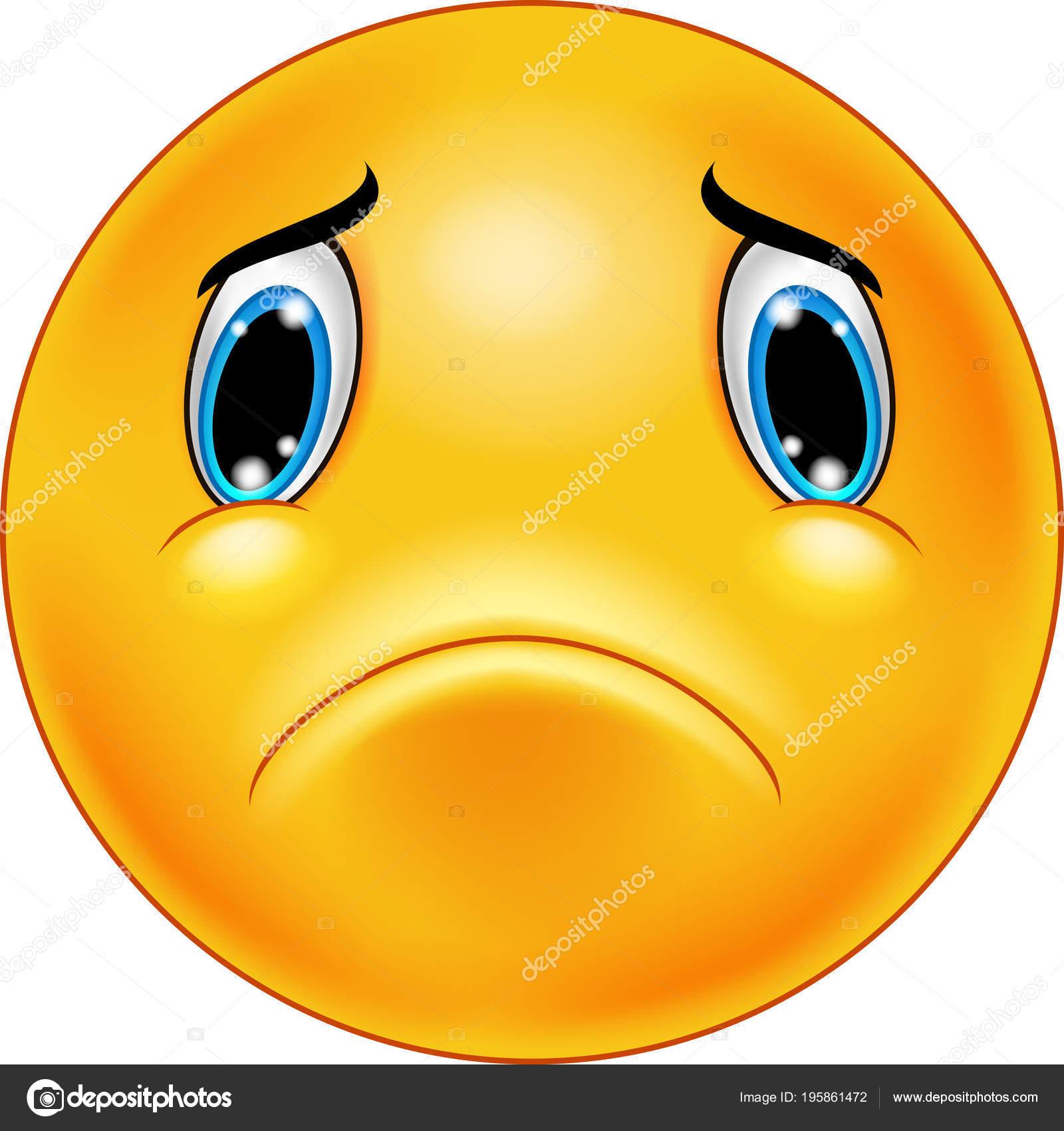 Trauriges Gesicht Emoticon Auf Einem Weissen Hintergrund Isoliert