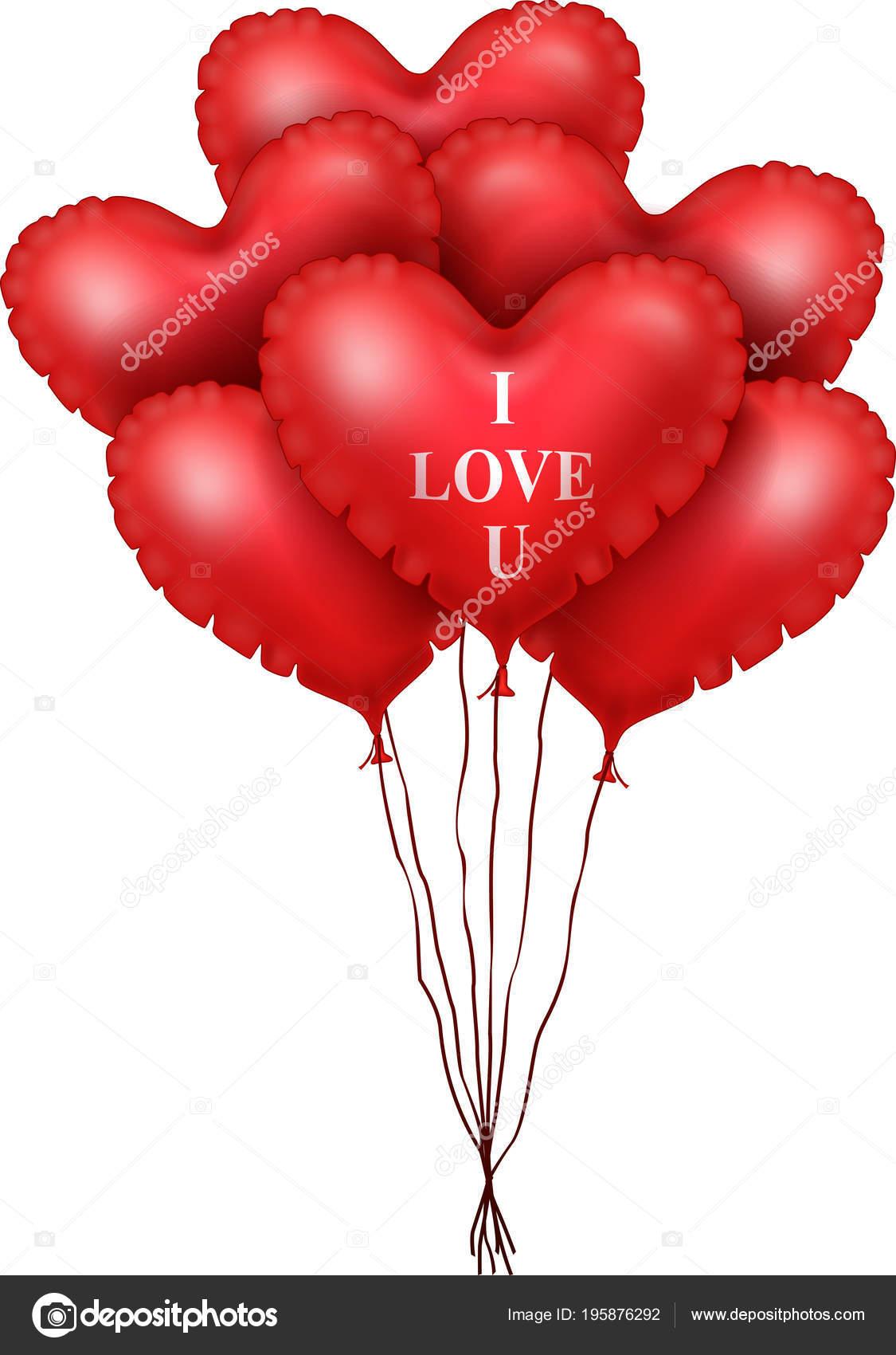 Rood Hart Ballonnen Geïsoleerd Witte Achtergrond Stockvector