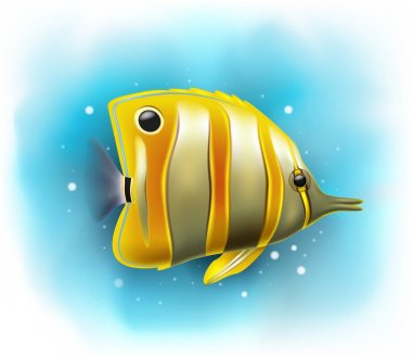 Vector illustration of Cartoon copper banded butterfly fish