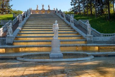 Cascade of the Golden Mountain. The prototype for it was one of the cascades of the French royal residence, Marley le Roy. Petergof, Russia.