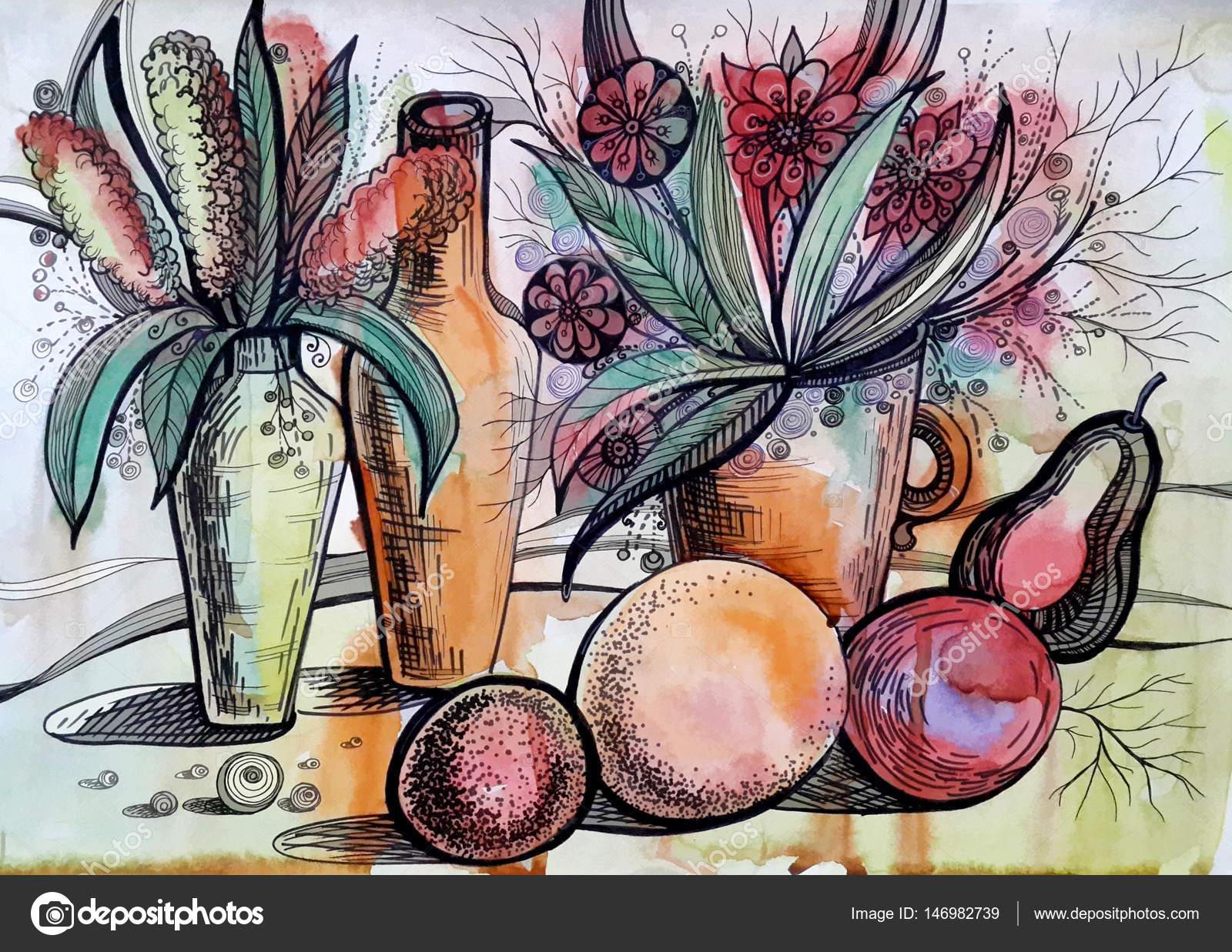 Acuarela Dibujo De Flores Y Frutas Foto De Stock