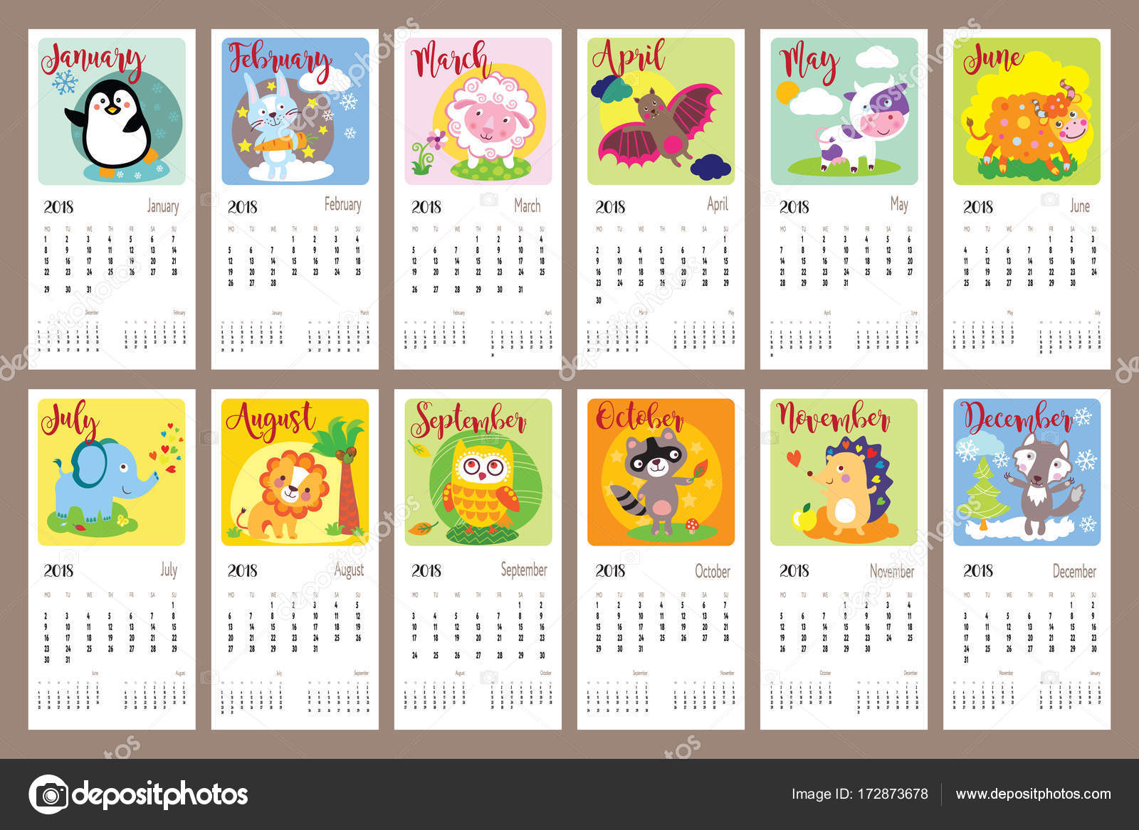 Calendrier Animaux.Calendrier Animaux Mignons Image Vectorielle Pushnoval