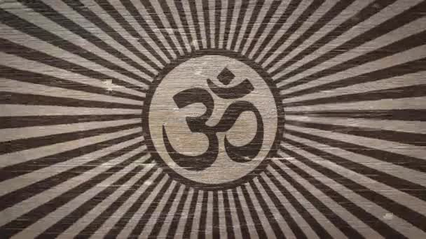 Brahman / Om - hindu szimbólum Wodden textúra. Ideális a hinduizmus / vallás kapcsolatos projektek. Kiváló minőségű animáció. 4k, 60fps