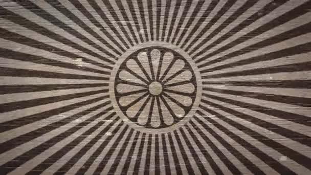 Dharmachakra - buddhistický symbol na Wodden textury. Ideální pro váš buddhismus / náboženské související projekty. Kvalitní animace. 4k, 60fps
