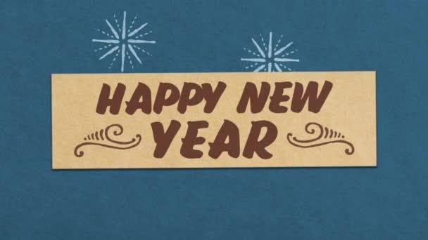 Boldog Új Évet Üdvözlő Kártya Kék Papír texturált háttér. Ideális az Ön szilveszter / szilveszter kapcsolódó projekt. Zökkenőmentes kiváló minőségű 4k Animáció