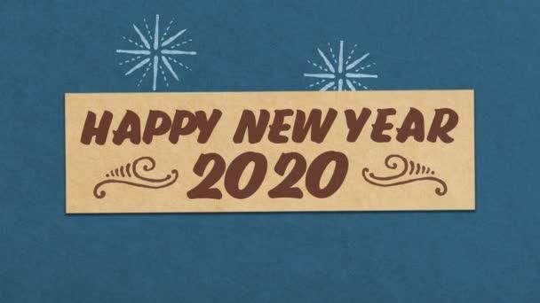 frohes neues Jahr 2020 Grußkarte auf blauem Papier strukturierten Hintergrund. ideal für Ihr Silvester-Projekt. nahtlose 4k-Animation in hoher Qualität