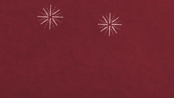Pozadí červené ohňostroje. Minimalistická bezproblémová smyčka. Kvalitní retro animace. 4k 60fps