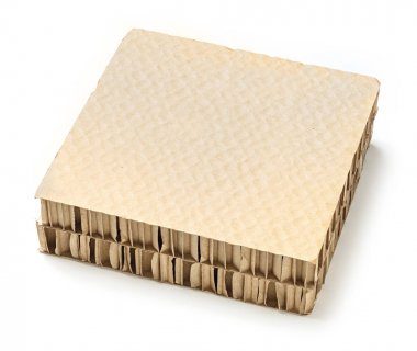 Honeycomb paper board used for cargo bracing or separators product in shipments, deep focus image