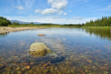 Summer landscape of the river Shchugor in the Northern Urals.