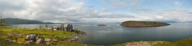Panorama. Islands in the North lake.