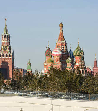 St. Basil's Cathedral and Spasskaya tower of the Moscow Kremlin.