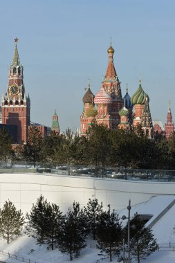 St. Basil's Cathedral in winter Moscow.