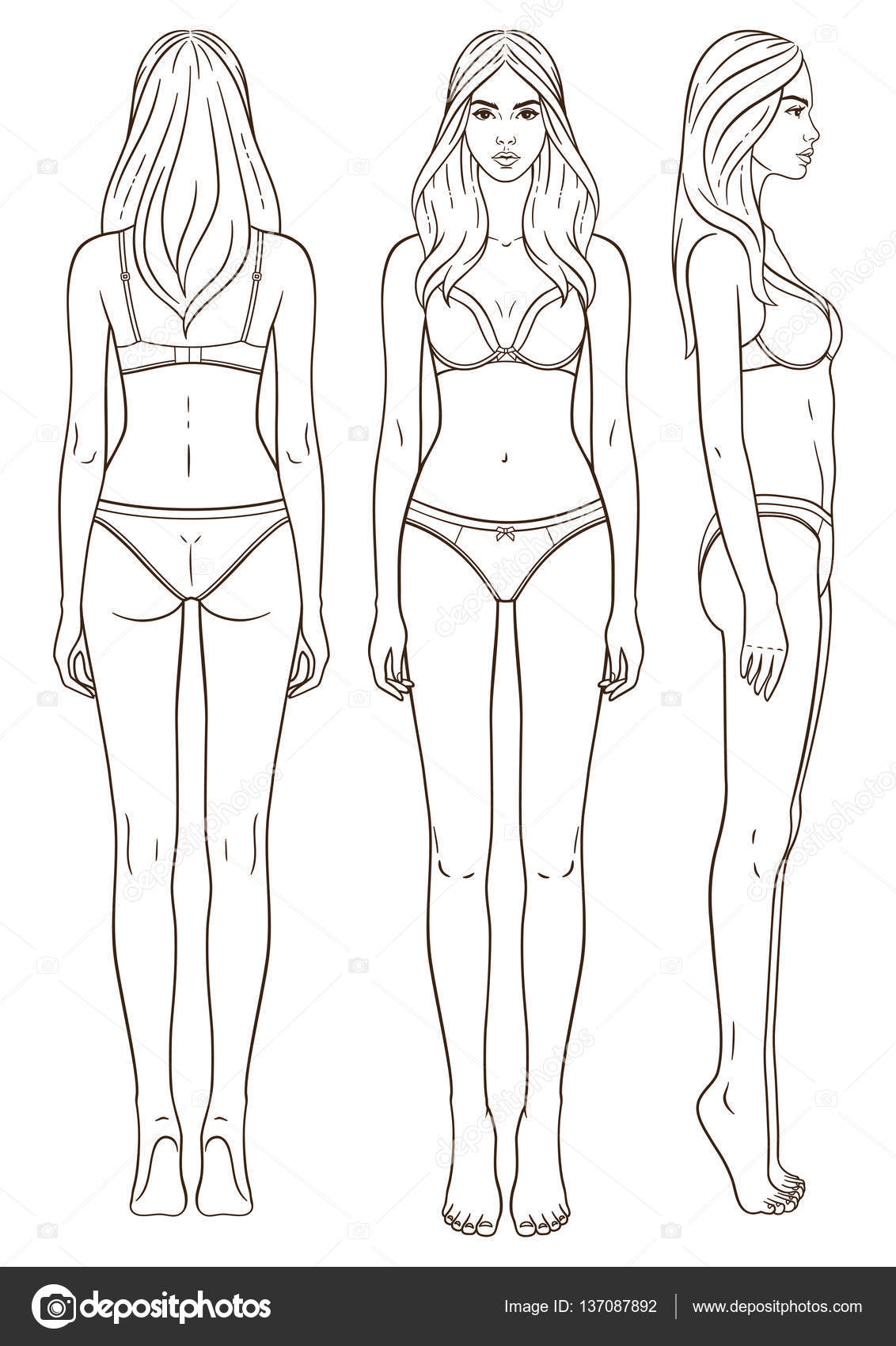Vector Illustration Of Womans Body Isolated Outline Line Contour Teamplate Girl In Underclothes Paper Doll Front Back Side Views People