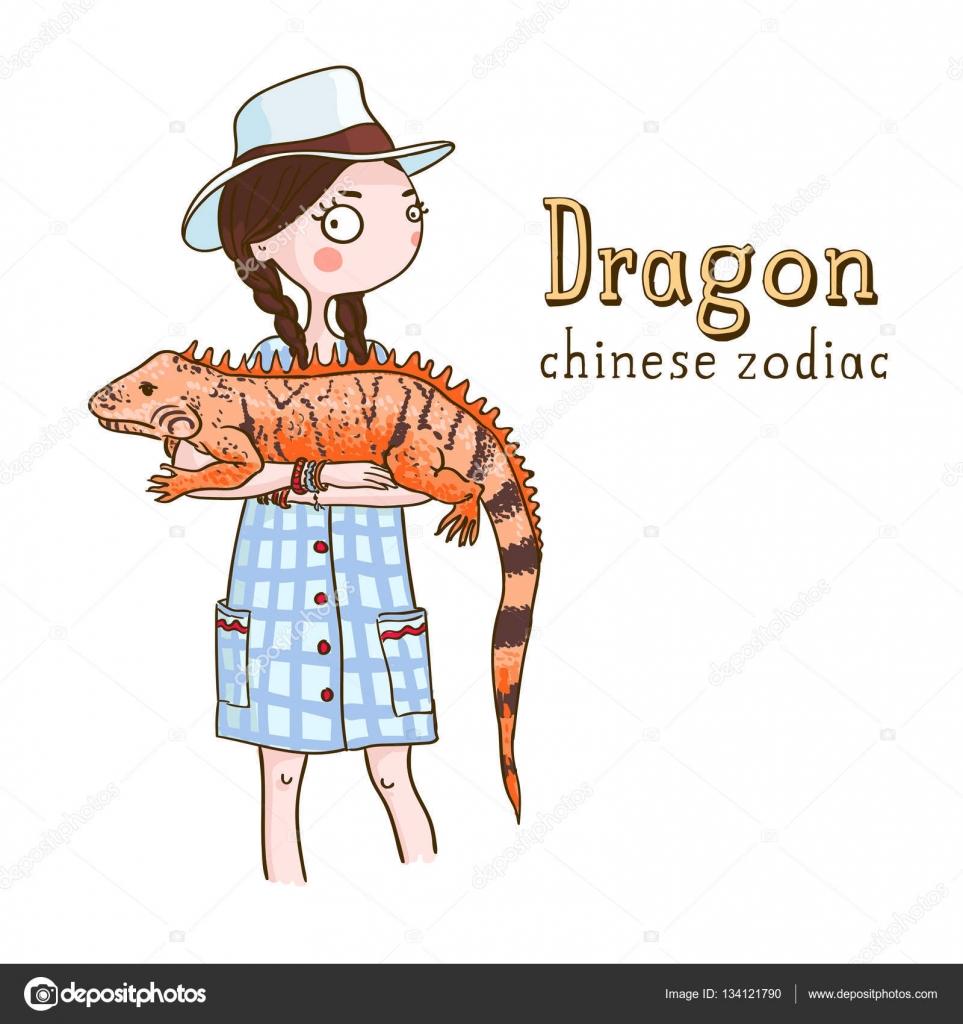 Beautiful girl with dragon stock vector salvadorova 134121790 cute girl holding dragon symbols of chinese horoscope vector by salvadorova buycottarizona Gallery