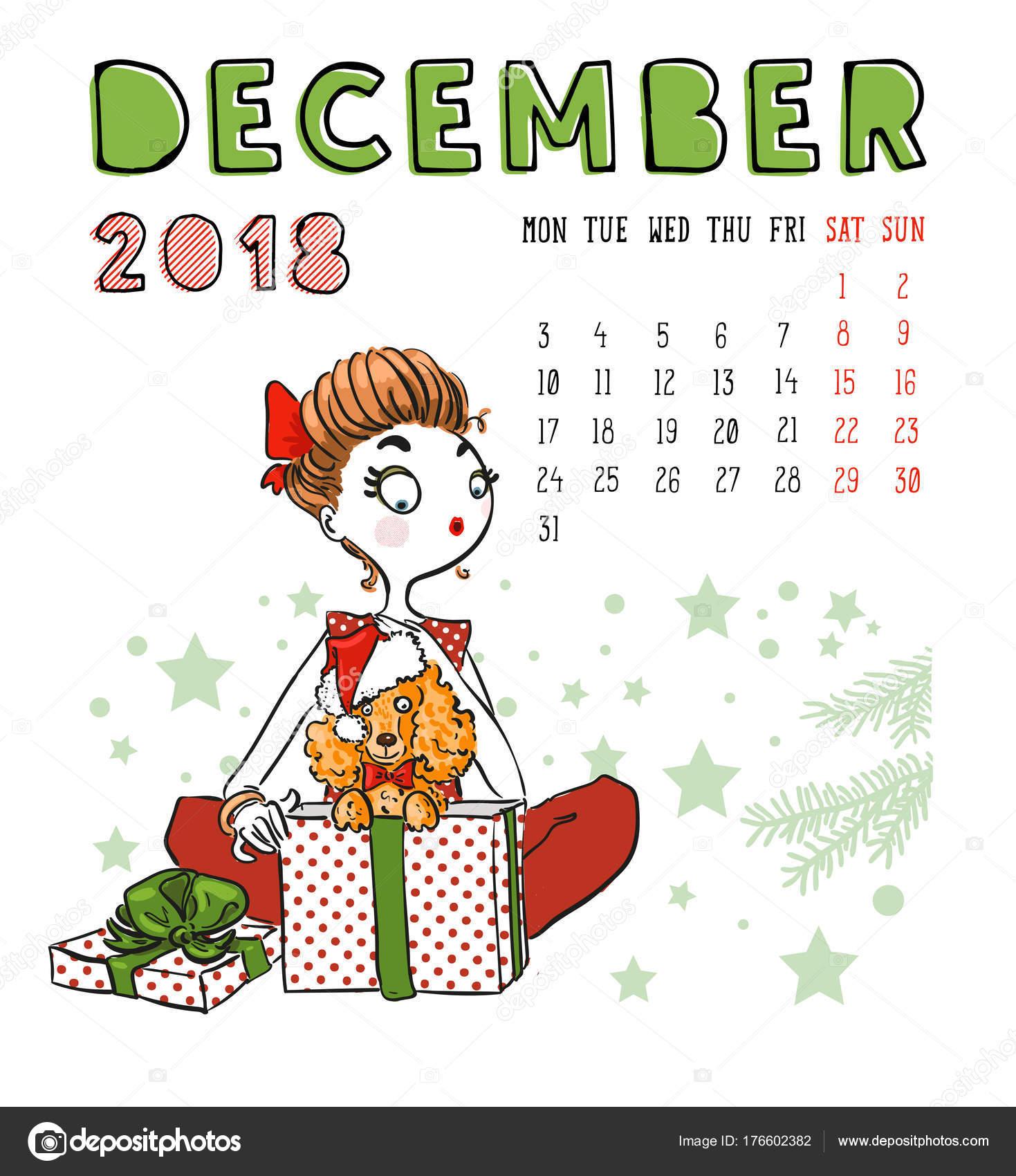 Calendar 2018 December Month Season Girl With Dog Vector Ill
