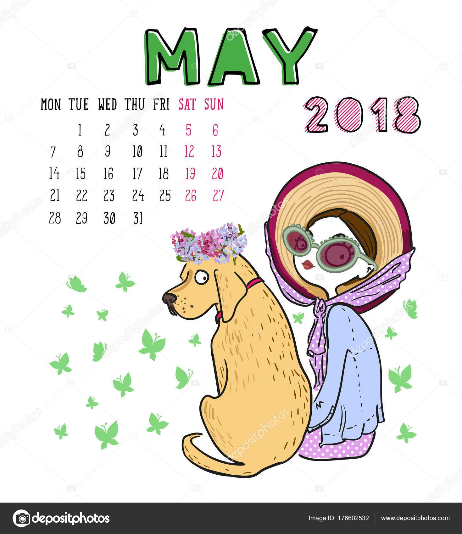 Kalender 2018, Monat Mai. Saison-Mädchen mit Hund. Vektor-illustra ...