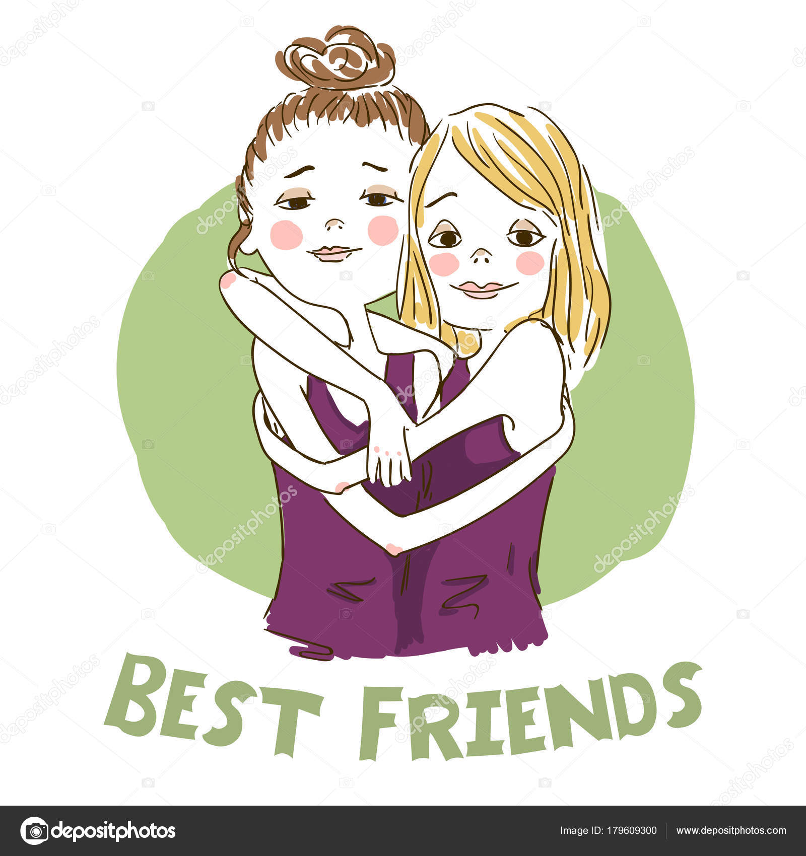 Two Cartoon Girls Best Friends Stock Vector C Salvadorova 179609300