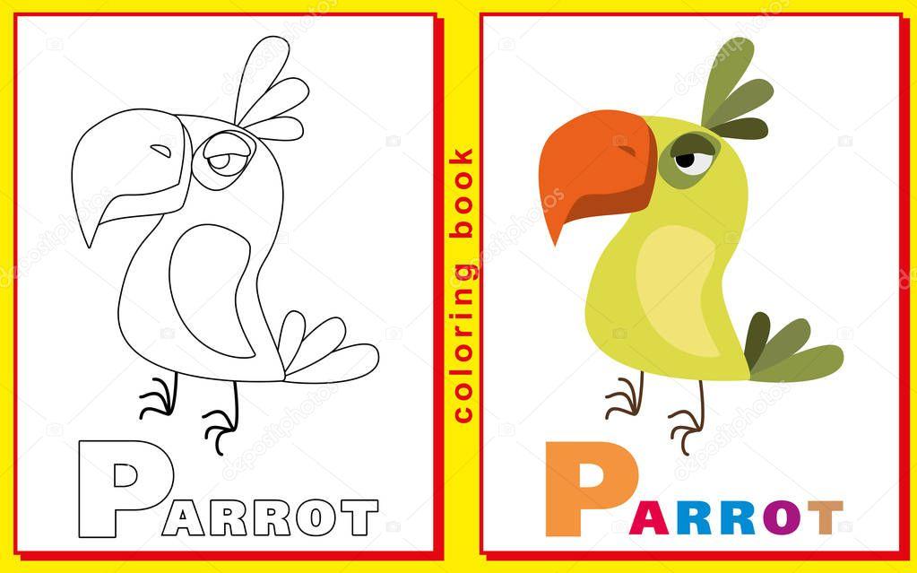 Libro para colorear para los niños con letras y palabras. Camada P ...