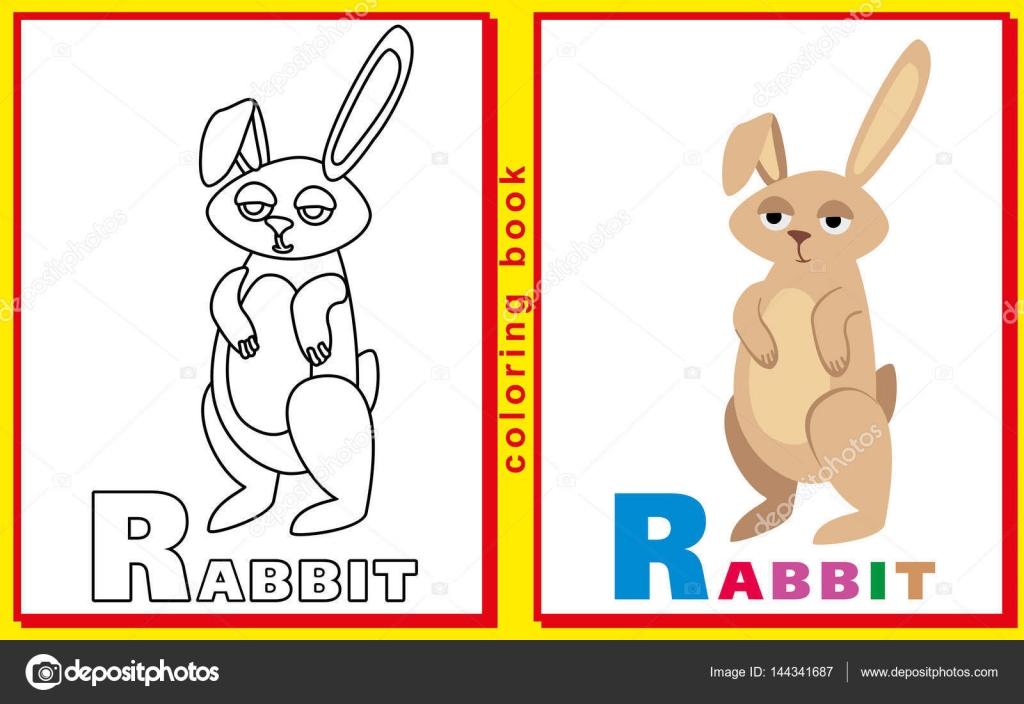 Libro para colorear para los niños con letras y palabras. Camada R ...