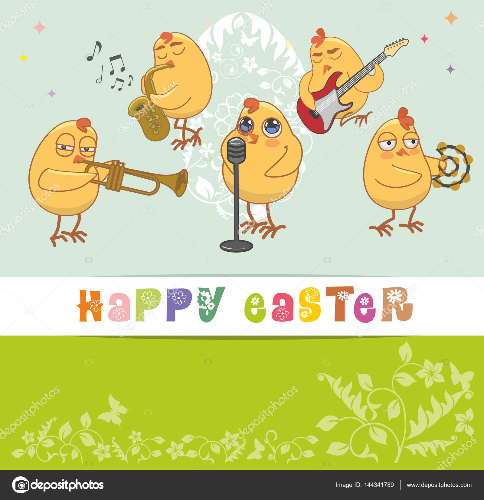 Chickens musicians greet with a happy easter vector card stock chickens musicians greet with a happy easter vector card stock vector m4hsunfo