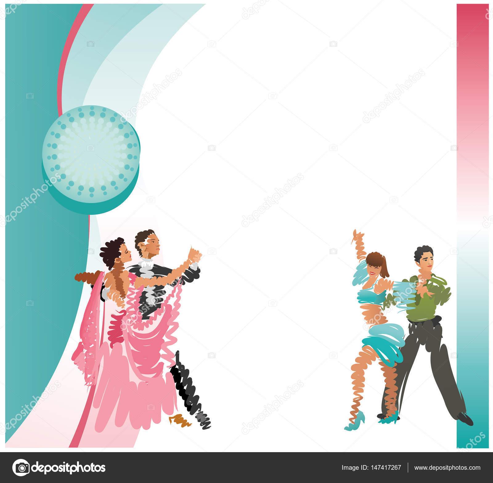 Marco cuadrado. Vector de la imagen de las parejas de baile ...