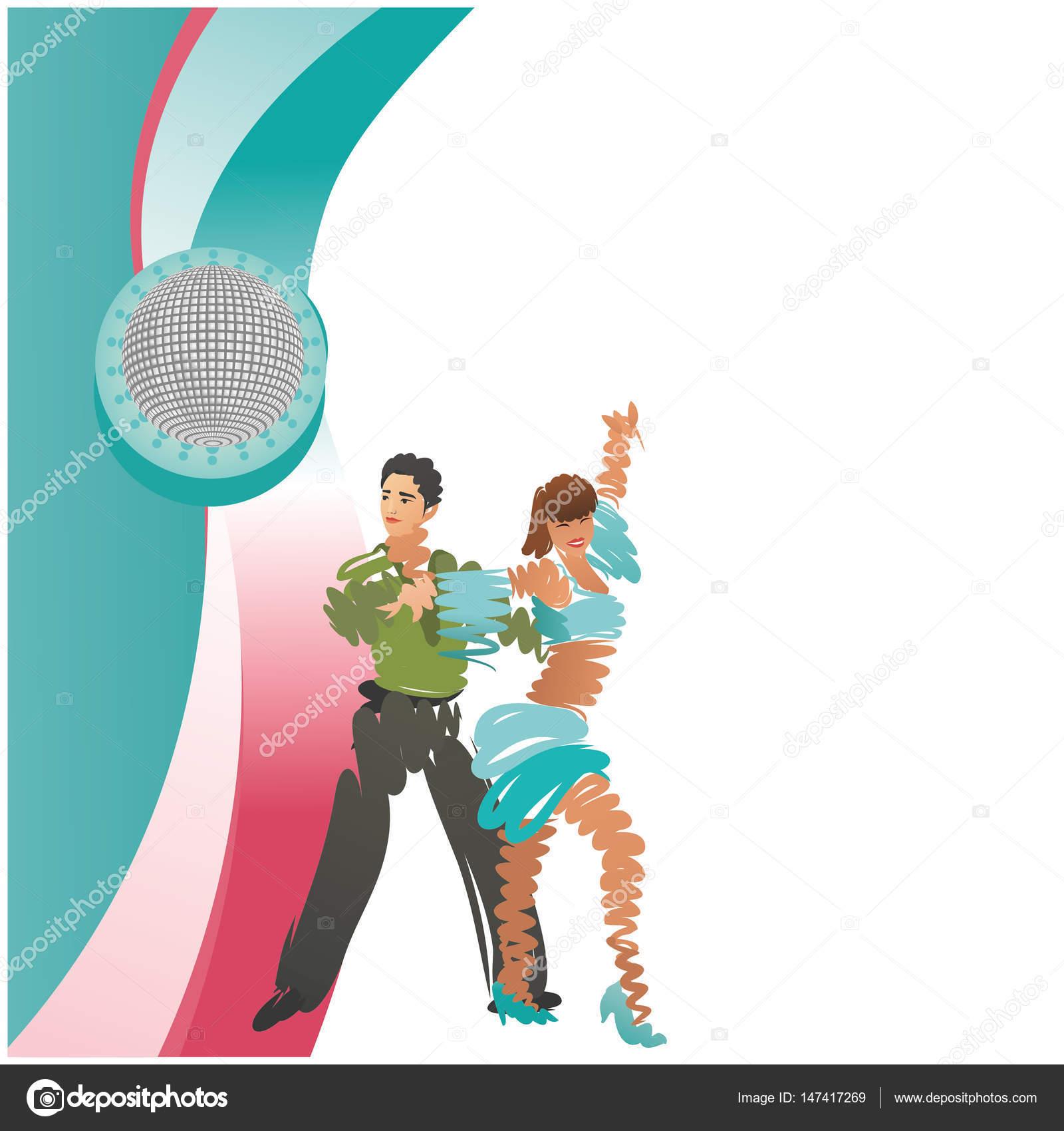 Imagen a color de una pareja de baile. Marco cuadrado del vector ...