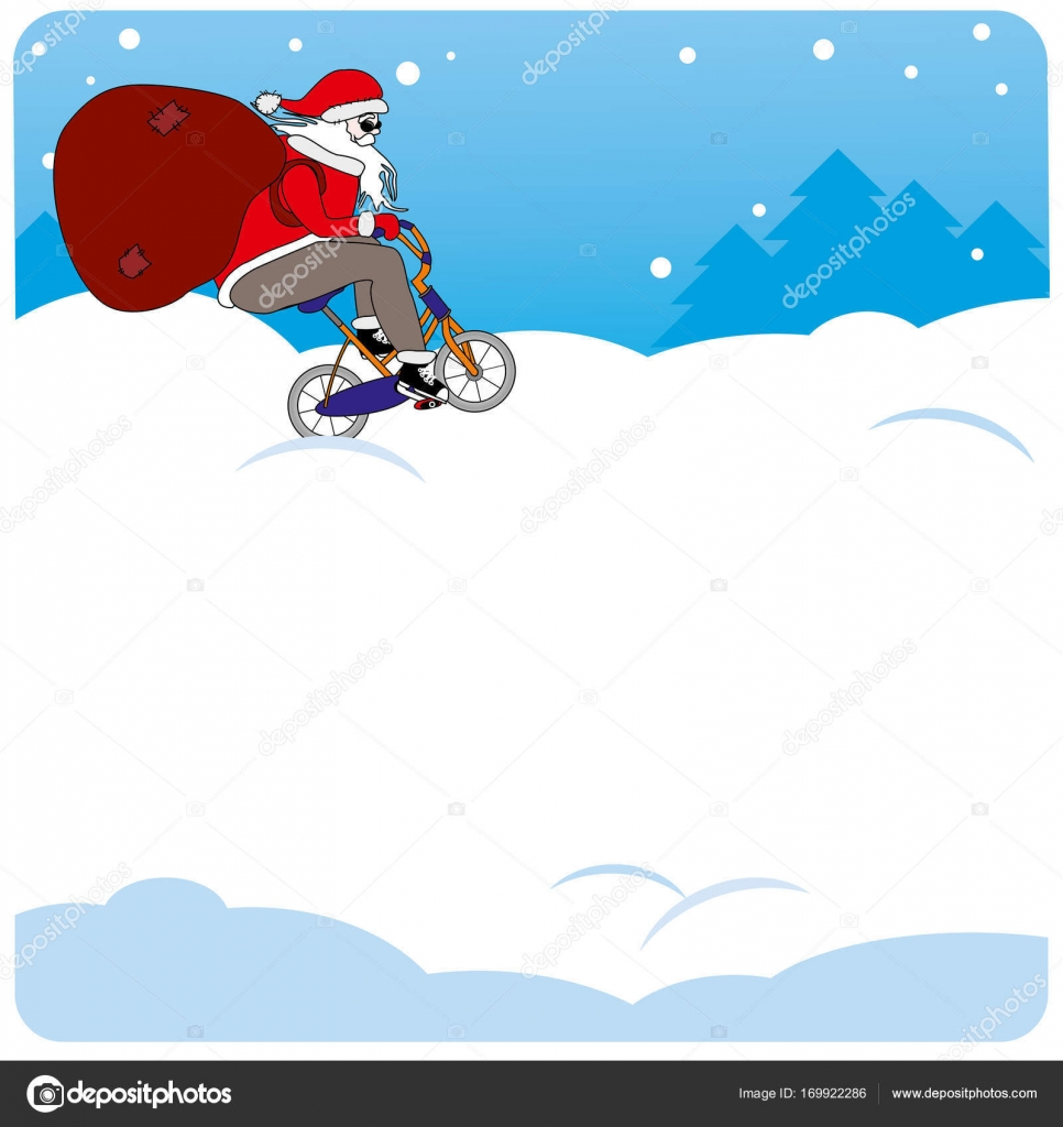 vertical vector christmas background santa rides a bike place