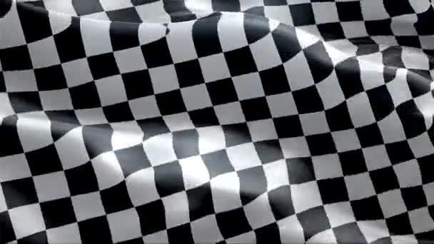 Die karierte Flagge weht im Wind. 4K High Resolution Full HD. Looping-Video einer Rennfahne.