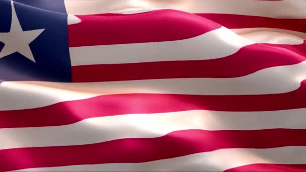 Flag of Liberia waving in the wind. 4K High Resolution Full HD. Looping Video of International Flag of Liberia.