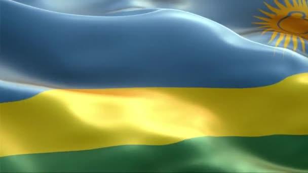 Vlajka Rwandy vlající ve větru. 4K High Resolution Full HD. Looping Video of International Flag of Rwanda.
