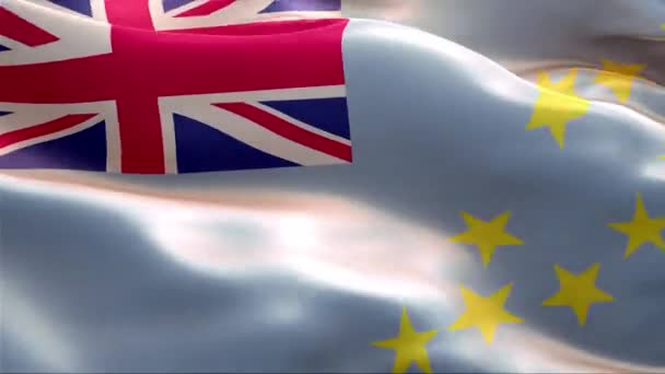 Flag of Tuvalu waving in the wind. 4K High Resolution Full HD. Looping Video of International Flag of Tuvalu.