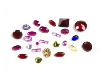 Studio shot of beautiful gemstones on white background