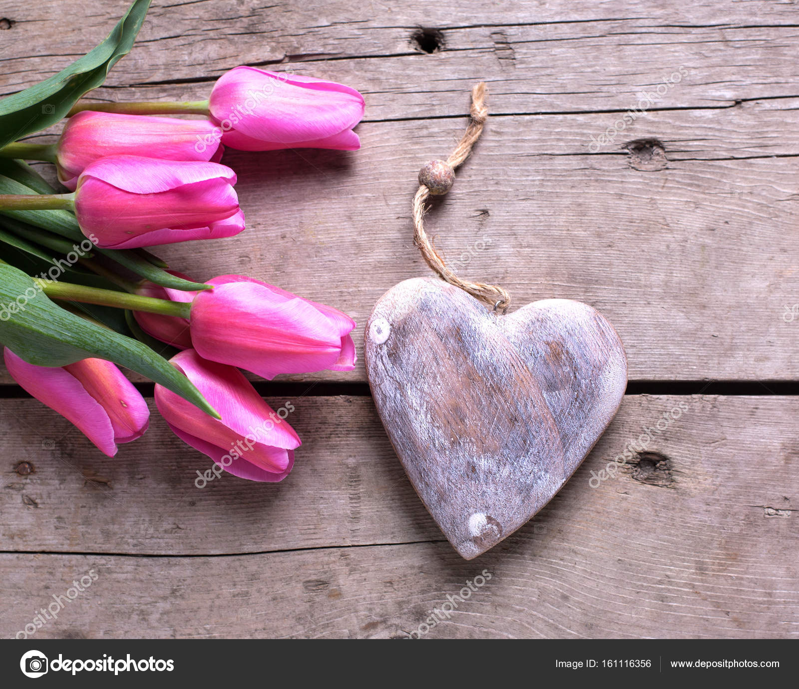 Bright Pink Tulips And Decorative Rustic Heart On Wooden Background Selective Focus Place For Text Photo By Daffodil
