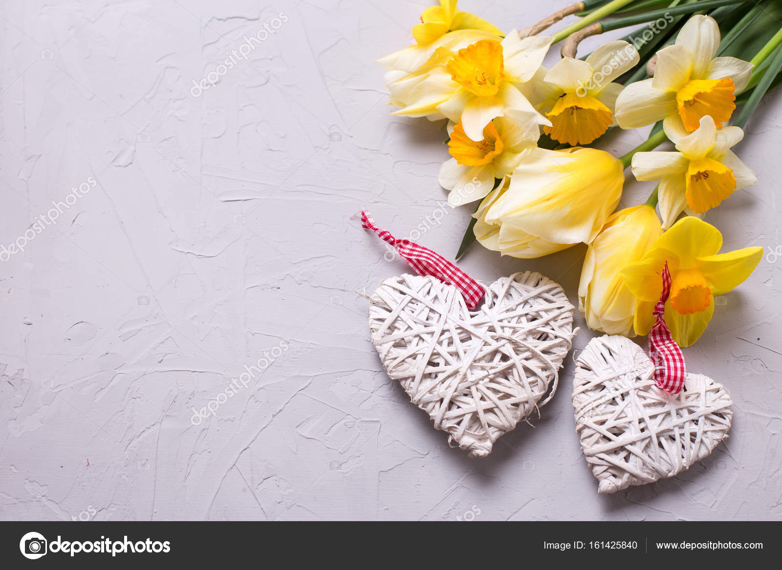 Yellow Flowers And Two Decorative Hearts Stock Photo Daffodil