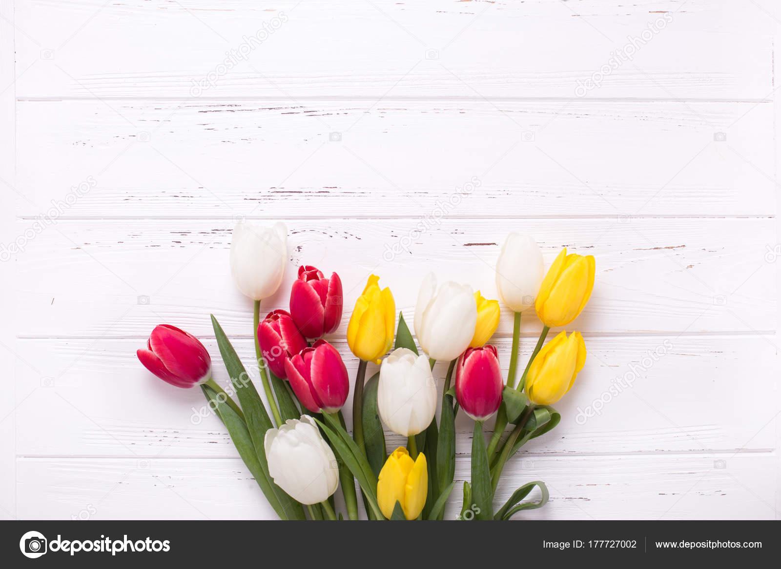 Flores Tulipanes Amarillos Rojos Blancos Sobre Fondo Madera Vintage