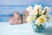 Bright white daffodils and tulips