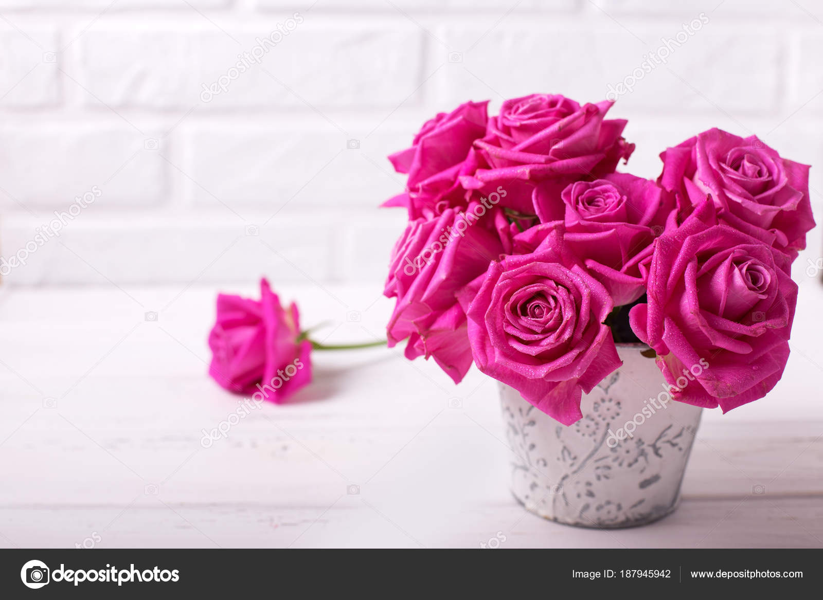Postcard Bright Pink Roses Flowers White Wooden Background Selective