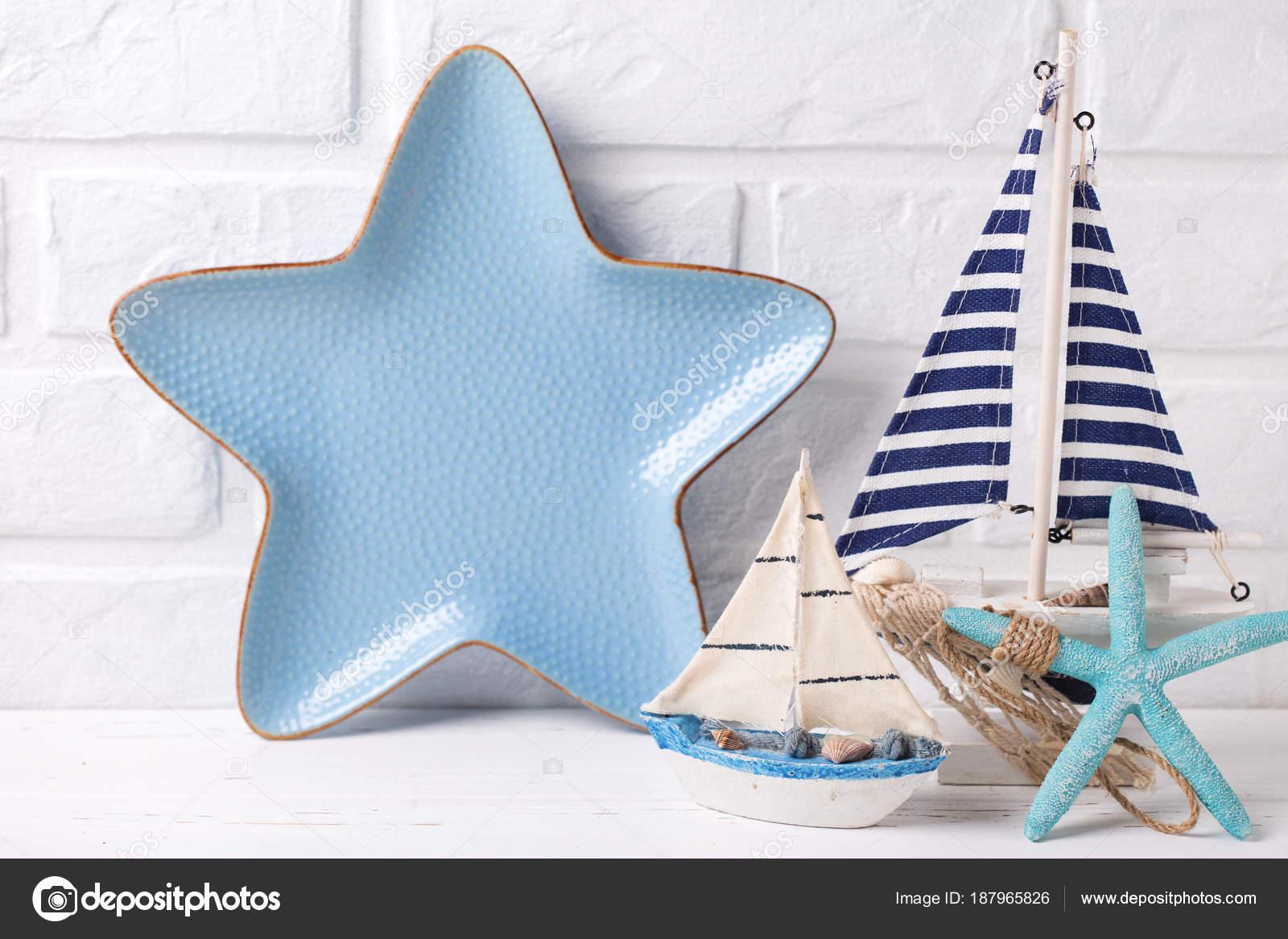 Ozean Lebenden Dekorationen Dekorative Boote Seestern Und Platte ...